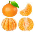 Collection of isolated tangerine pieces on white with clipping path Royalty Free Stock Photo