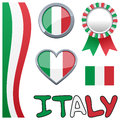 Collection italy italian patriotic elements including vertical banner badge button award ribbon glossy heart green white red flag Stock Image