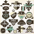 Collection of labels premium best high and genuine quality in vector set vintage for design Royalty Free Stock Images