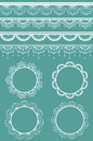 Collection lace ribbons frames vector illustration each design element separate layer eps file contains lace brushes can be use Royalty Free Stock Images