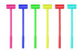 Collection of large toy hammers isolated Royalty Free Stock Photo