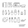 Collection of line style stationery pen, pencil, ruler, ink Royalty Free Stock Photo