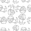 Collection lion doodle style hand draw