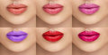 Collection lipsticks. Female lips with different colors of lipstick. A collage of six female lips. Beauty, fashion, care Royalty Free Stock Photo