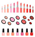 Collection of lipsticks, powders and nail varnish Royalty Free Stock Photography