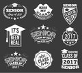 Collection of logo badges and labels for graduating class