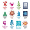 Collection logos style christmas decorations Royalty Free Stock Photography