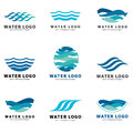 A collection of logos for water and plumbing. Water Association. Icons in vector