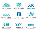 A collection of logos for water and plumbing. Water Association. Icons in vector Royalty Free Stock Photo