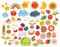 Collection of lovely baby forest nature doodle character icon ,cute star ,adorable flower ,sweet fruit ,kawaii rainbow ,girly bug