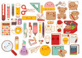 Collection of lovely baby stationery character doodle icon , cute pencil , adorable teddy bear doll , sweet lunchbox , kawaii book