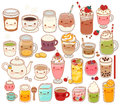 Collection of lovely hot and cold drink icon , cute tea , adorable milk , sweet coffee , kawaii smoothie, girly matcha green tea Royalty Free Stock Photo