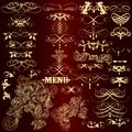 Collection of luxury golden calligraphic elements and page decor vector set for design vector Stock Photography