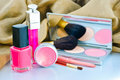 Collection of makeup brush and cosmetics Royalty Free Stock Photo