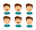 Collection of man with a variety of emotions.