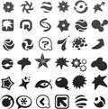Collection of many black abstract icons - 6 Royalty Free Stock Images