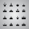 Collection of many different crowns on gray background Stock Image
