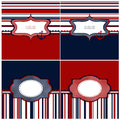 Collection of marine backgrounds in dark blue red and white colors with blank tags vector illustration Stock Photos