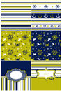 Collection of marine backgrounds in dark blue, yellow and white Royalty Free Stock Photo