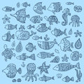 The collection of marine fish and mammals beautiful vector design Stock Photos