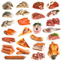 Collection of meat and seafood on a white background Royalty Free Stock Photography