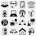 Collection of media and communication vector icon set isolated on grey background eps file available Royalty Free Stock Images