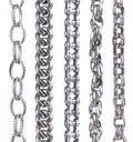 Collection of metal chain parts on white Stock Images