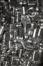 Collection of metal containers a large bottle holding a various Stock Images