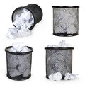 Collection metal trash bin from paper Royalty Free Stock Image