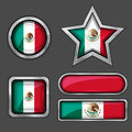 Collection of mexican flag icons Stock Photo