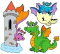 Collection mignonne de dragons Image libre de droits