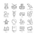 A collection of minimalistic thin line icons for various toys' kinds and categories and activities for kids, babies and