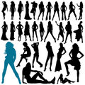 Collection of model woman vector Royalty Free Stock Images