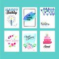 Collection of modern design birthday greeting cards