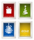 Collection of modern  postage stamps Royalty Free Stock Photo