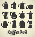 Collection of modern and retro coffee pot silhouettes Stock Photos