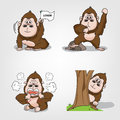 Collection of monkey action set vector eps Royalty Free Stock Images
