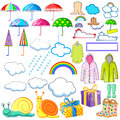 Collection of monsoon and rainy day object including raincoat, umbrella, boots and cloud