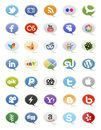 Collection most popular social media network buttons Royalty Free Stock Images