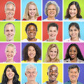 Collection of multi ethnic happy people Royalty Free Stock Image