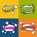 Collection multicolored comic sound effects speech bubble cartoon illustrator eps Royalty Free Stock Photo