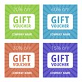Collection of 4 multicolored gift vouchers with 15, 20, 30, 40% sale