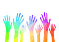 Collection of multicolored hands. Vector EPS 10.