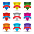 Collection of multicolored shields with ribbons on a  white back Royalty Free Stock Photo