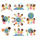 Collection of multicultural little kids holding Earth globe together, friendship, unity concept vector Illustration