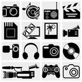 Collection of multimedia icons photo video music vector icons set isolated on grey background eps file available Stock Image