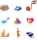Collection of music icons Royalty Free Stock Image