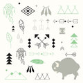 Collection of native American symbols with cute baby buffalo Royalty Free Stock Photo