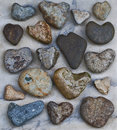 Collection of Natural Heart Rocks Royalty Free Stock Photo