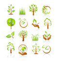 Collection nature icons reflection white Royalty Free Stock Images